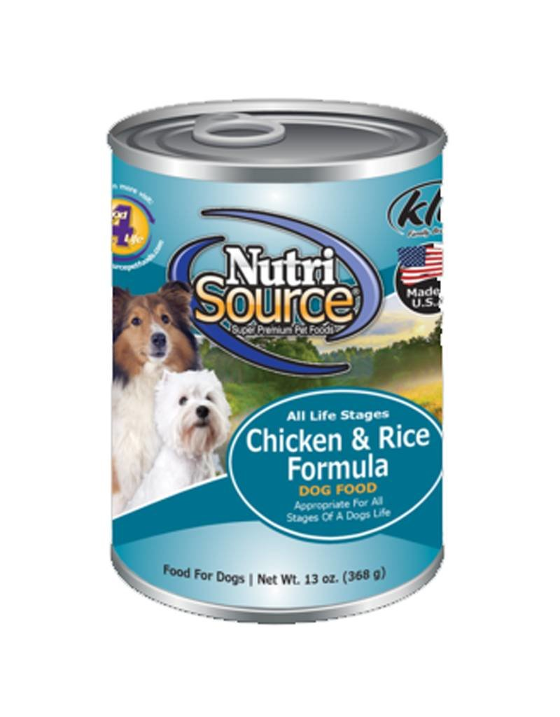 NUTRISOURCE Nutrisource Chicken & Rice Canned Dog Food 12/13oz Case