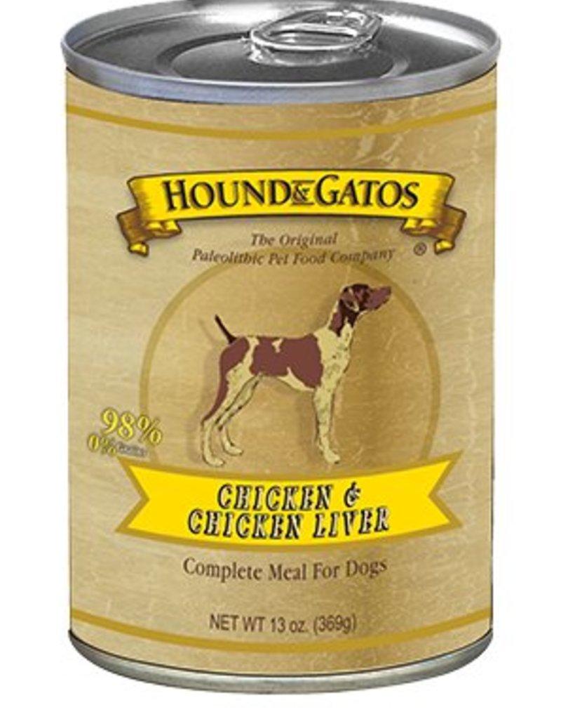 HOUND & GATOS Hound & Gatos Chicken/Chicken Liver 13oz Canned Dog Food (Case of 12)