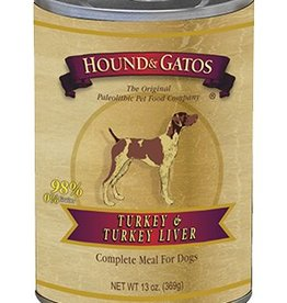 HOUND & GATOS Hound & Gatos Turkey/Turkey Liver 13oz Canned Dog Food (Case of 12)