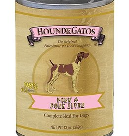 HOUND & GATOS Hound & Gatos Pork/Pork Liver 13oz Canned Dog Food (Case of 12)