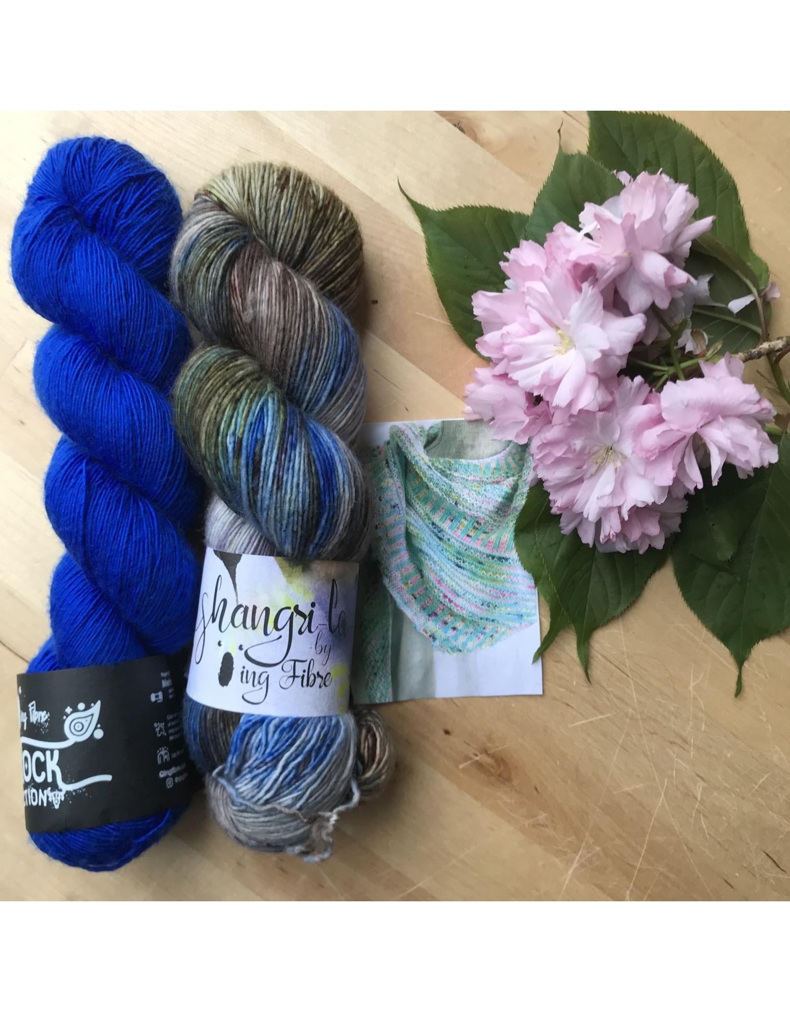 Qing Fibre Breathe & Hope Shawl Kit - Qing Fibers Rich Blue