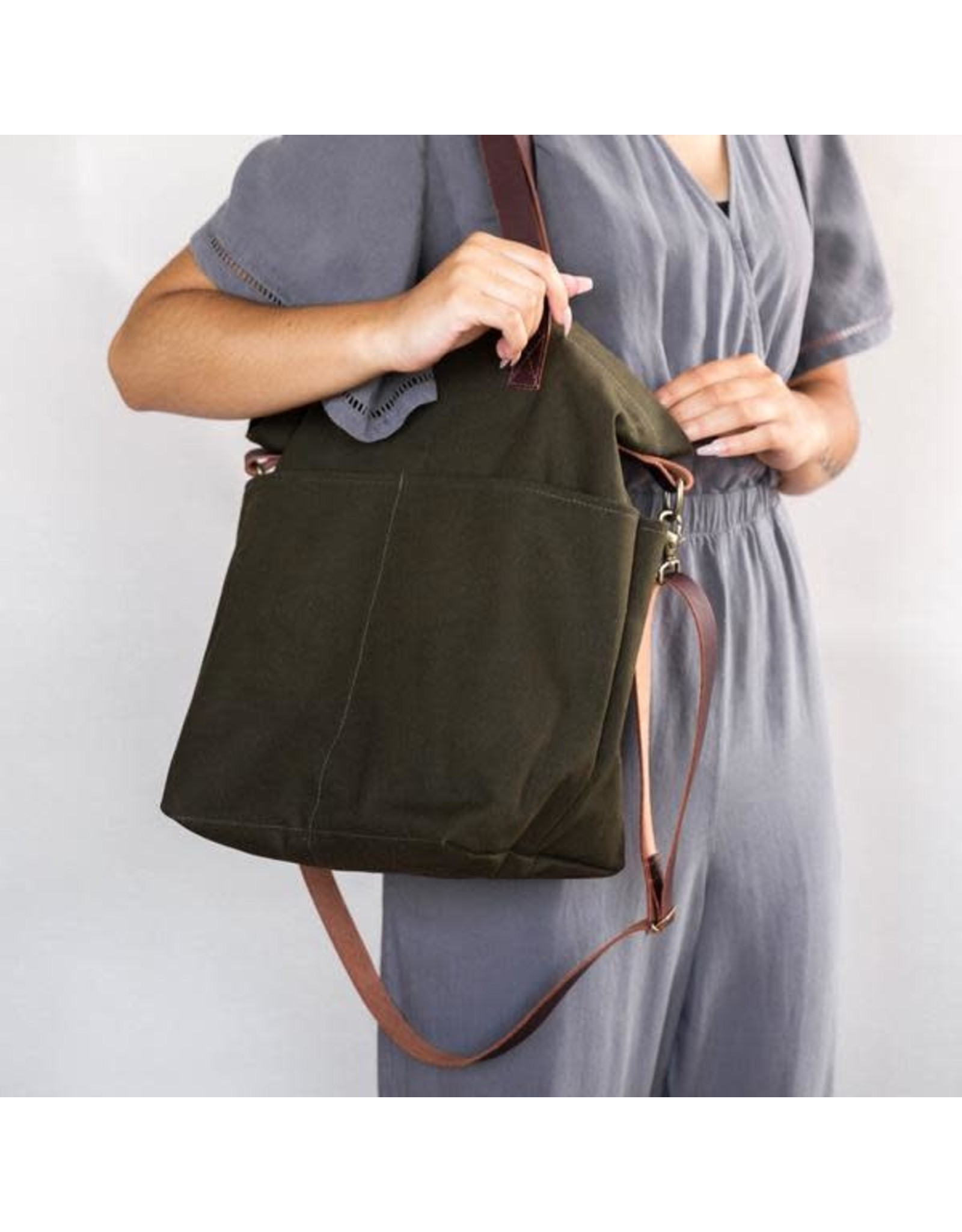 Crossbody Project Tote - Olive Canvas - Twig & Horn