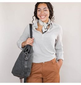 Waxed Canvas Crossbody Project Tote - Charcoal Waxed Canvas - Twig & Horn