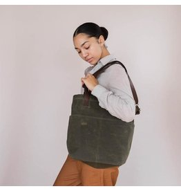Waxed Canvas Crossbody Project Tote - Olive Waxed Canvas - Twig & Horn