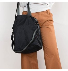 Waxed Canvas Crossbody Project Tote - Black Waxed Canvas - Twig & Horn