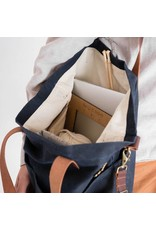 Waxed Canvas Crossbody Project Tote - Navy Waxed Canvas - Twig & Horn