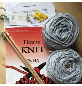Learn to Knit a Scarf Kit Light Blue - 100% All Natural American Wool Yarn - Quince Osprey Stream