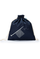 Large Eden Cotton Pouch - Navy Swatch - Della Q