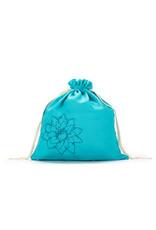 Large Eden Cotton pouch - Cyan Linen Brights - Della Q