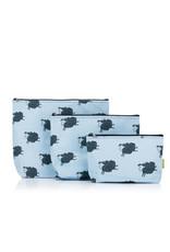 Della Q - Mesh + Zip Collection - Sheep/Slate Cotton Print