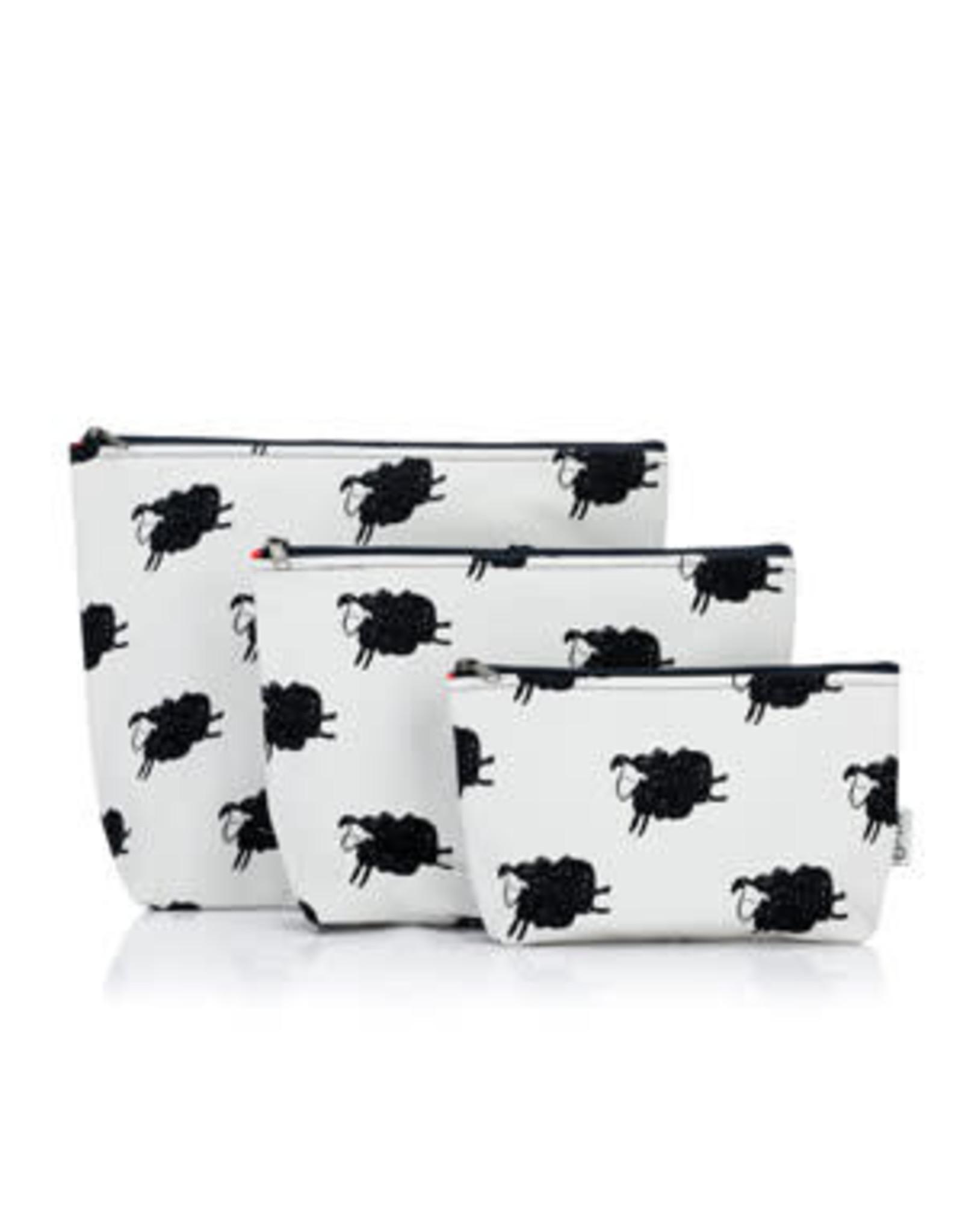Della Q - Mesh + Zip Collection - Sheep/Red Cotton Print