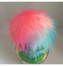 Faux Fur Pom Pom - Brights - Rainbow Sherbet