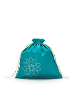 Large Eden Cotton pouch - Teal Linen Brights - Della Q