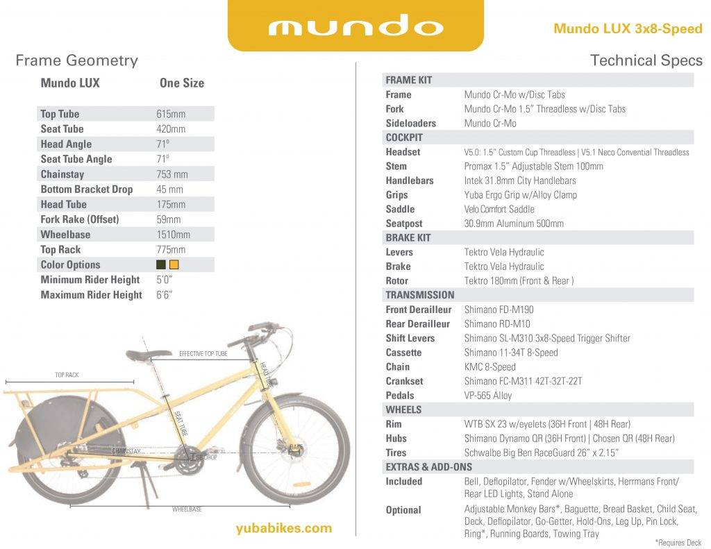 Yuba Mundo LUX 24-speed Cargo Bike Olive