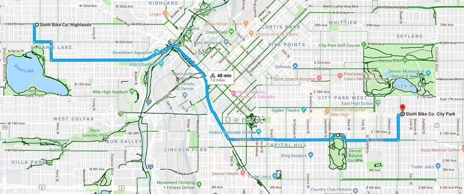 Highlands to City Park bike map