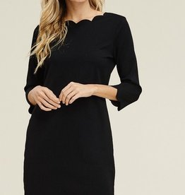 Scalloped Basic Black Dress with 3/4 Sleeve