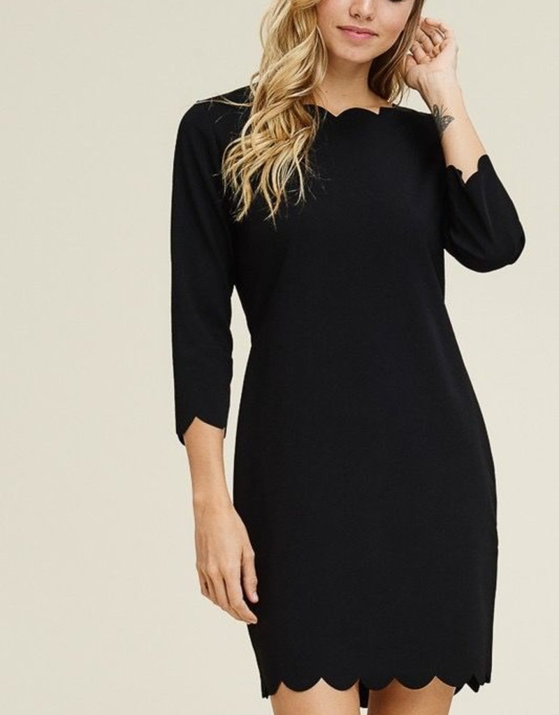 Scalloped Basic Black Dress with 3/4 Sleeve<br /> 95% Polyester 5% Spandex<br /> Made in USA