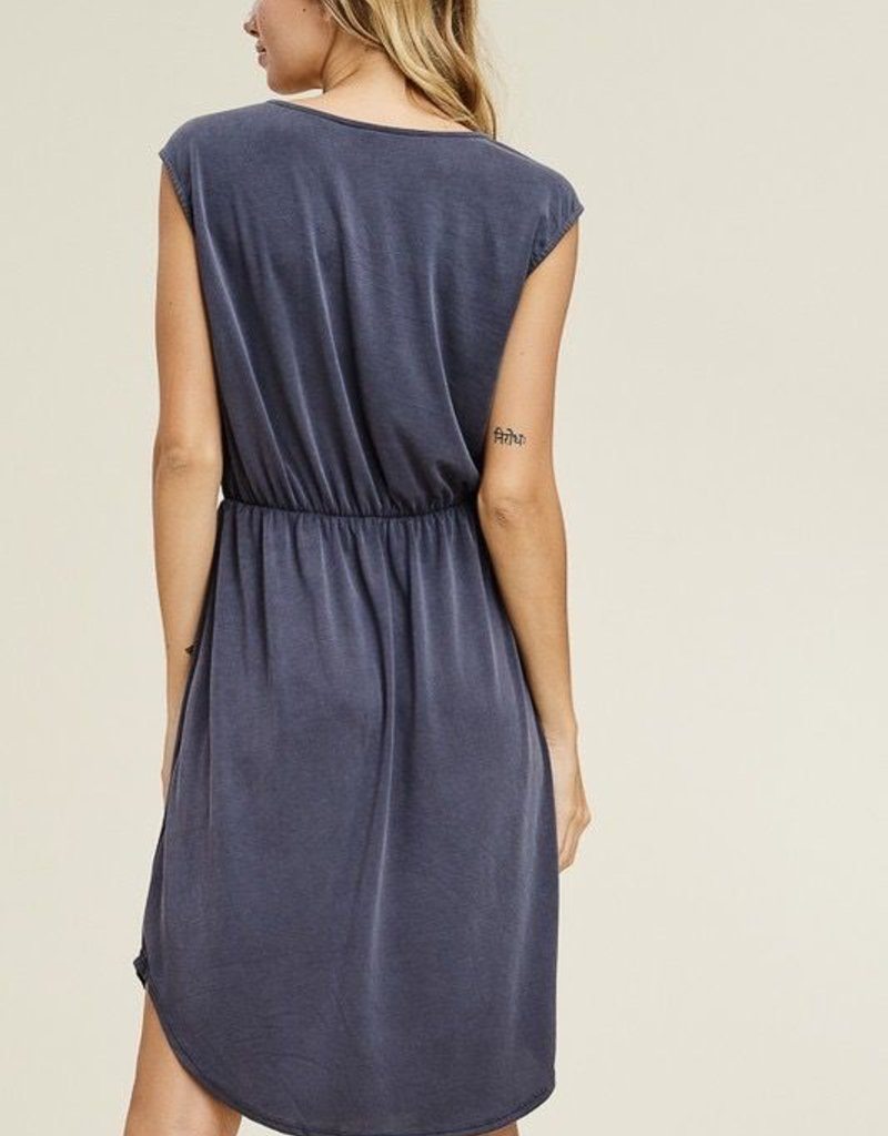 Modal Embroidered Cupro Dress<br /> 70% Modal 30% Polyester<br /> Made in USA