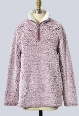 Soft and Fluffy Two Tone Mock Neck Pull Over<br /> 100% Polyester
