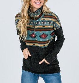 Aztec Print Zip-Up Pullover