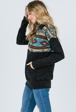 Aztec Print Zip-Up Pullover <br /> Lightweight <br /> 95% Polyester 5% Spandex<br /> Made in USA