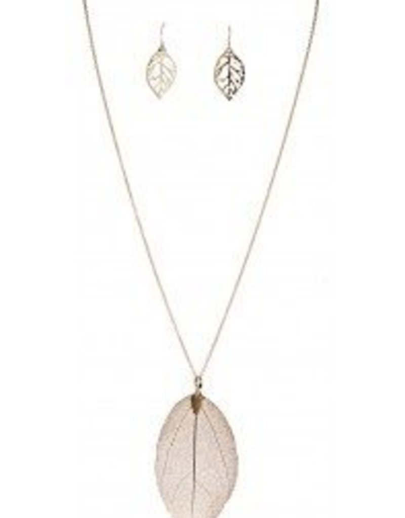 Rain Natural Leaf in Gold with Earrings