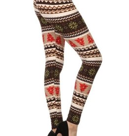 Christmas Tree Print Print Leggings Buttery Soft ONE SIZE