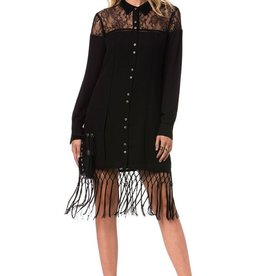 Miss Me Black Long Sleeve Fringe Dress MDD217L
