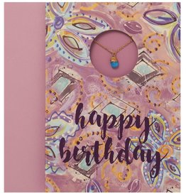 Greeting Card with Dainty Hand Wrapped Crystal Necklace