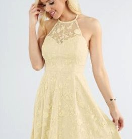 Nikibiki Oatmeal Halter Neck Fit and Flare Embroidery Lace Dress