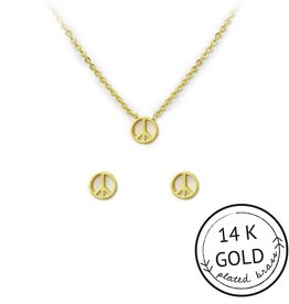 """Kitsch """"For Peace Sake"""" Earring and Necklace Set Gold"""