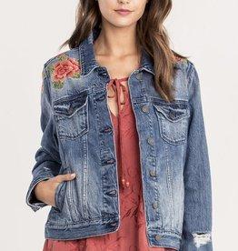Miss Me Sweet Essence Embroidered Denim Jacket