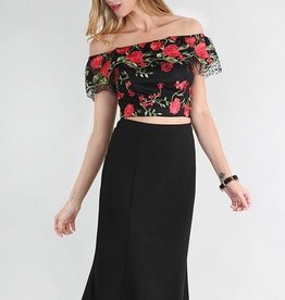 Ruffle Off The Shoulder 2PC  Top and Skirt