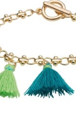Tiny Tassel Bracelet<br /> This colorful, flirty Tiny Tassel Bracelet is a witty and wonderful way to liven up any wardrobe. Layer multiple bracelets for an even bolder look!<br /> <br /> • Colorful Tiny Tassels<br /> • 3&quot; Diameter Gold Chain with Toggle Clasp<br /> • Nickel and Lead