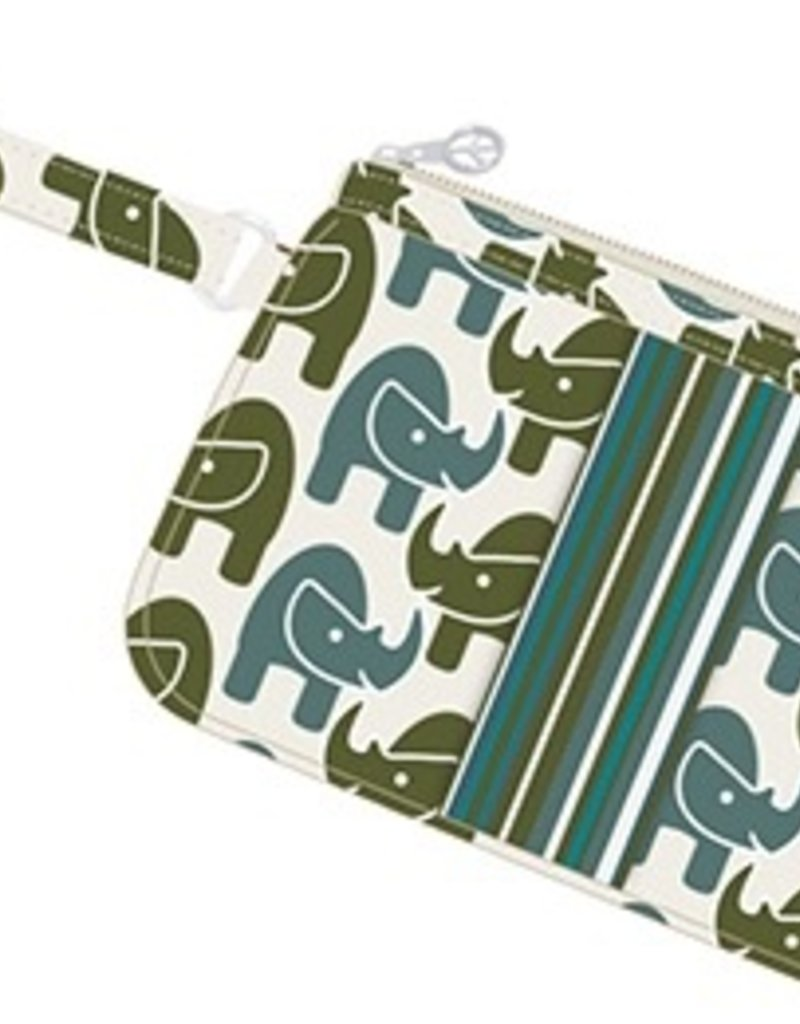 """Bungalow 360 Rhino Canvas Striped Wristlet<br /> Durable natural cotton canvas<br /> Cute polka dot lining<br /> Zipper closure with signature peace sign zip pull<br /> Spacious interior measures 9'' W X 6'' H<br /> 6"""" Wrist strap, 1 interior zip pocket for cash or cards<br /> Perfect for h"""