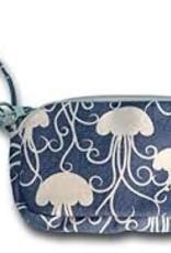 Bungalow Cotton Canvas Coin Purse Wristlet - Jellyfish