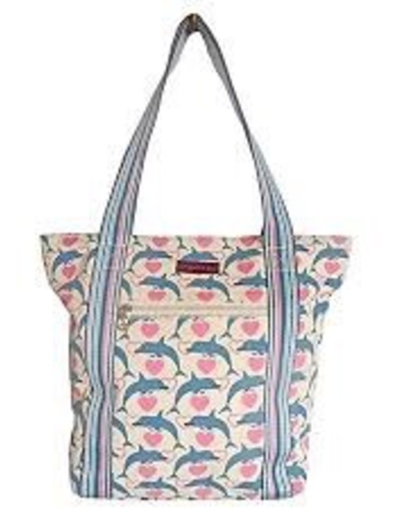 Bungalow 360  Dolphin Canvas Stripped Tote