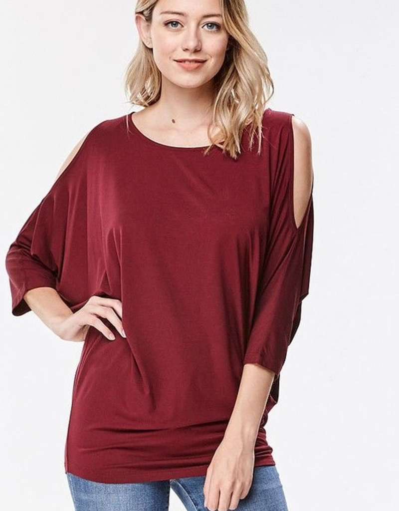 Rayon Anything BUT Basic Cold-Shoulder Dolman Top<br /> RAYON COLD-SHOULDER DOLMAN TOP <br /> 95% RAYON / 5% SPANDEX <br /> MADE IN USA