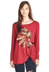 Feather Headdress Long Sleeve Top with a Twist<br /> 95% Rayon 5% Spandex<br /> Made in USA