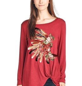 Feather Headdress Long Sleeve Top with a Twist