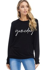 Game Day Long Sleeve Top<br /> French Terry 95% Rayon 5% Spandex<br /> Made in USA