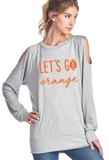 Let's Go Orange Football Long Sleeve Cold-Shoulder TopFrench Terry 95% Rayon 5% SpandexMade in USA