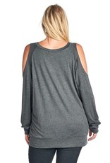 Game Day Plus Size Cold-Shoulder Top95% Rayon 5% SpandexMade in USA