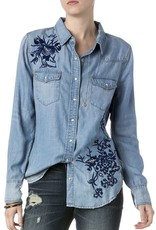 Miss Me Floral Embroidered L/S Denim Shirt<br /> Keep your look fresh and floral this fall! This new arrival from Miss Me is a must have style for your look! This denim shirt features a long sleeve with a beautiful floral embroidery throughout. Pair this with d