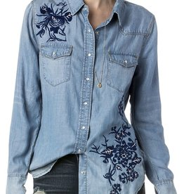 Miss Me Floral Embroidered L/S Denim Shirt