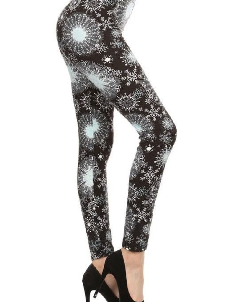 Snowflake Print Leggings Buttery Soft ONE SIZE<br /> 92% Polyester 8% Spandex
