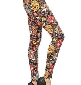 Skull Halloween Print Leggings Buttery Soft ONE SIZE
