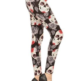 Skull Halloween Print Leggings Buttery Soft ONE SIZE