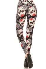 Skull Halloween Print Leggings Buttery Soft ONE SIZE<br /> 92% Polyester 8% Spandex