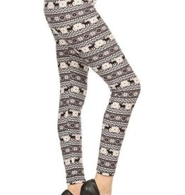 Fair Isle Winter Nordic Print Leggings Buttery Soft ONE SIZE